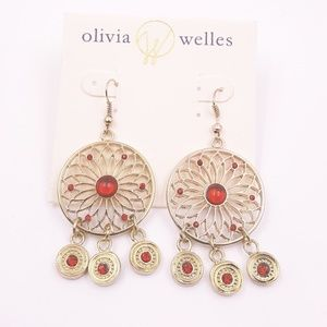 Gold Plated Filigree Coin Charm Earrings